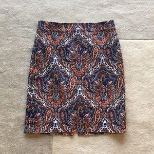 J crew paisley print pencil skirt